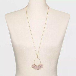 Women's Wire Fan Tassel Gold Necklace - Light Pink